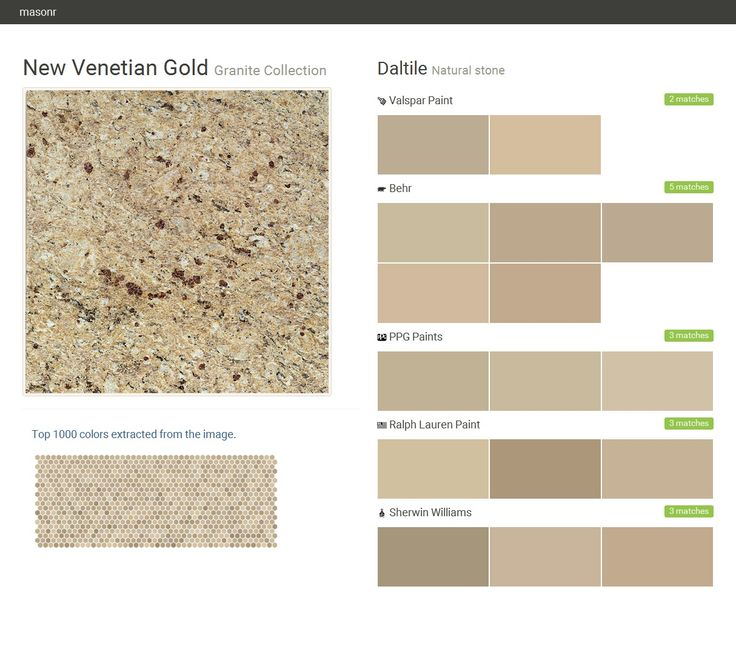 New Venetian Gold. Granite Collection. Natural stone. Daltile. Valspar Paint. Behr. PPG Paints. Ralph Lauren Paint. Sherwin Williams.  Click the gray Visit button to see the matching paint names.