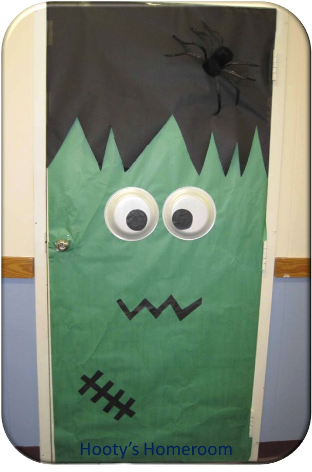 Frankenstein Classroom Door. I think I want to change the inside of my door with themes throughout the year- but it also might be a lot of work!