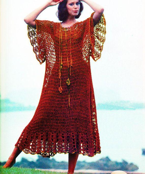 Vintage Crochet Pattern  Angel Sleeve Maxi Dress  Butterfly Wing Goddess Gown by 2ndlookvintage, $4.00