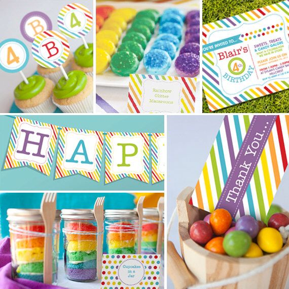 Rainbow Party /Candy Party Theme - Instantly Downloadable and Editable File - Personalize and Print at home with Adobe Reader by SunshineParties on Etsy https://www.etsy.com/listing/162354123/rainbow-party-candy-party-theme