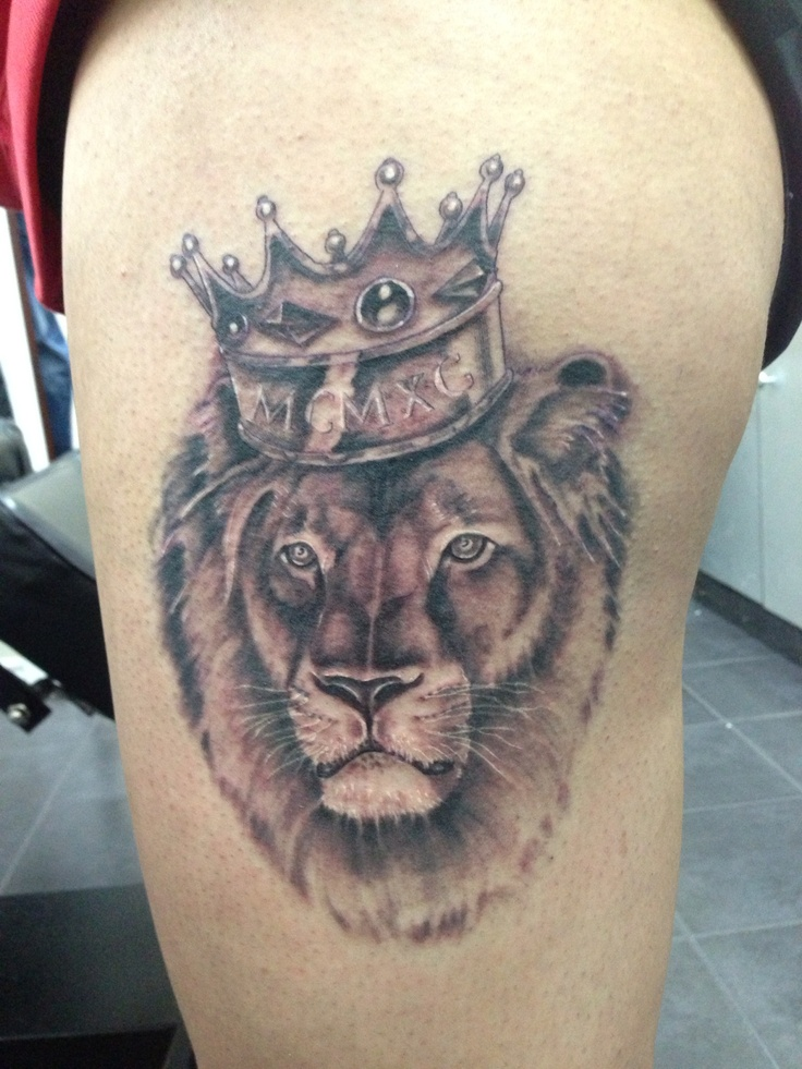 Lion with crown tattoo Blacky's Tattoo Studio...Done by ...