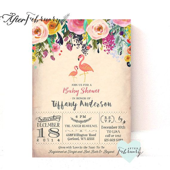 Flamingo Baby Shower Invitations // Flamingo Party // Flamingo