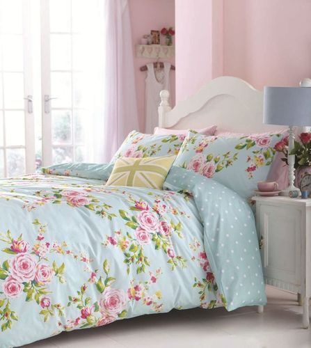 SINGLE DOUBLE KING DUVET SET CANTERBURY DUCKEGG BLUE PINK SHABBY & CHIC FLORAL