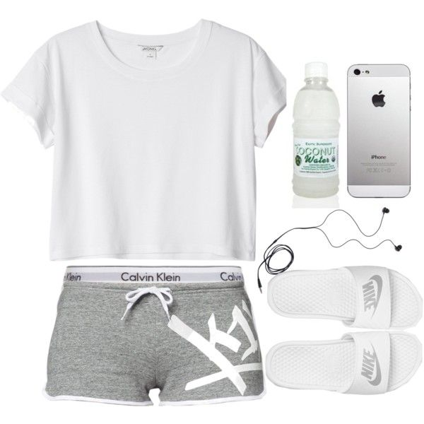 White cropped tee, Calvin Klein boy shorts, white Nike slides, gray short shorts