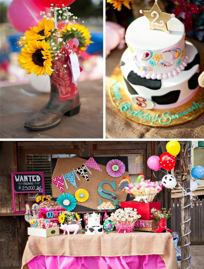 Girly Rodeo Birthday Party Theme Pink Horse Cow Girl Kids