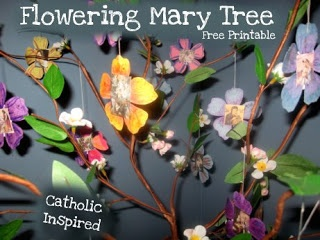 Flowering Mary Tree Project - Each flower has a center with an image of  Mother Mary, Mary portrayed in different nationalities, moments in her life, and her apparitions.