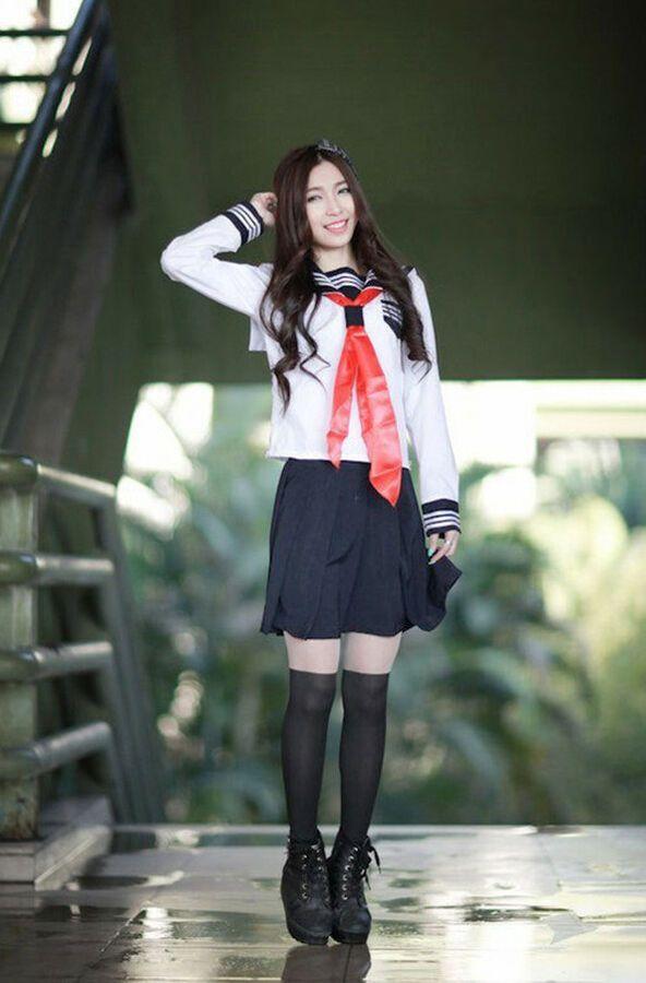 Tie Skirt Shirt Japan Women Girl Uniform Costume Lolita complete Dress