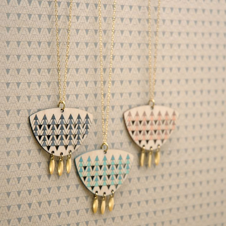 Ethically produced and eco-friendly Birch necklace, hand-painted with a geometric, chevron design and finished with brass drops.Materials: Sustainably harvested Birch cut using green power, Raw...