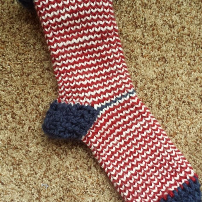 Loom knitted sock by @woolyobsessed