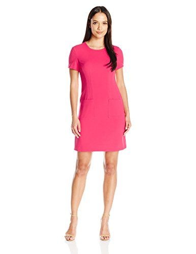 Eliza J Women's Petite Short Sleeve Sheath with Front Pockets, Pink, 8P   #FreedomOfArt  Join us, SUBMIT your Arts and start your Arts Store   https://playthemove.com/SignUp