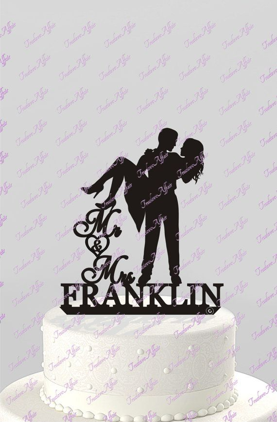 This Silhouette Couple, Mr & Mrs Personalized with Last Name, offers a unique way of expressing your love on your special day. This topper is
