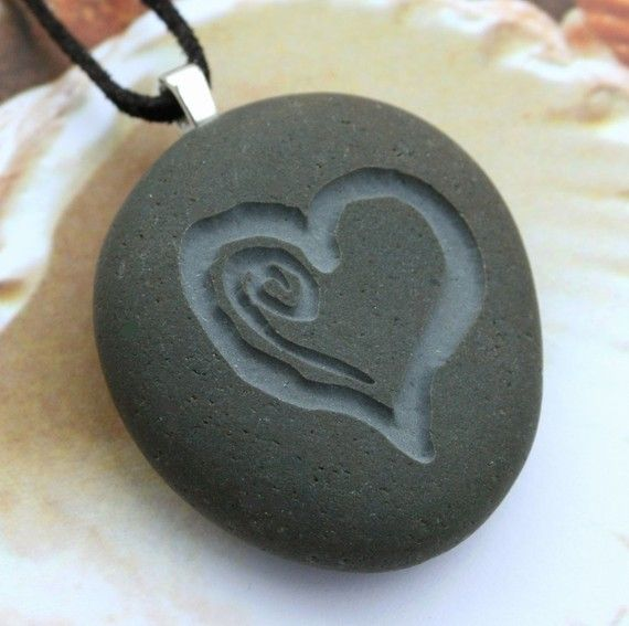 MY HEART necklace - Double Sided Engraved pebble necklace - Tiny PebbleGlyph Pendant (c)  $28