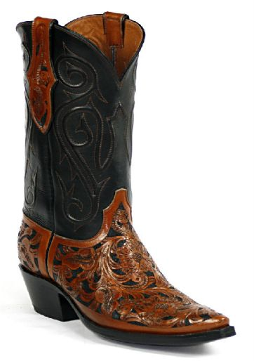 Hand-Tooled Leather Boots Style HT-149 Custom-Made by Black Jack Boots