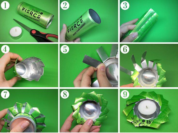 Schnapp dir deine leeren VABO-N FIERCE und/oder APEX Dosen, eine Schere und Teelichter (1). Entferne den Dosendeckel mit einer Schere oder einem Dosenöffner (2). Schneide die Dose bis zur 250 ml Markierung ein. Die Streifen sollten dabei ca. 1,5 cm breit sein (3,4). Kürze die Streifen auf eine Länge von ca. 5 cm (5). Dann falte, verbinde und befestige die Streifen wie in Bild 6, 7 und 8 zu sehen. Und platziere zu guter Letzt dein Teelicht in der Mitte (9). Et Voilà!