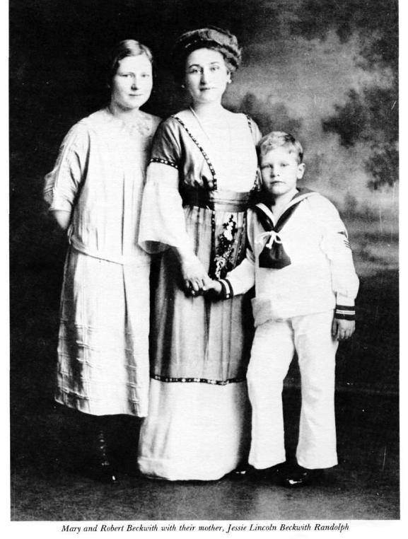 Mary and Robert Beckwith with their mother, Jessie Lincoln Beckwith Randolph. Robert Todd Lincoln married Mary Eunice Harlan, daughter of Senator James Harlan and Ann Eliza Peck of Iowa, on September 24, 1868. Mary Eunice (Harlan) Lincoln was born September 25, 1846 and died March 31, 1937. They had three children: Mary ( or Mamie), Abraham II and Jessie.
