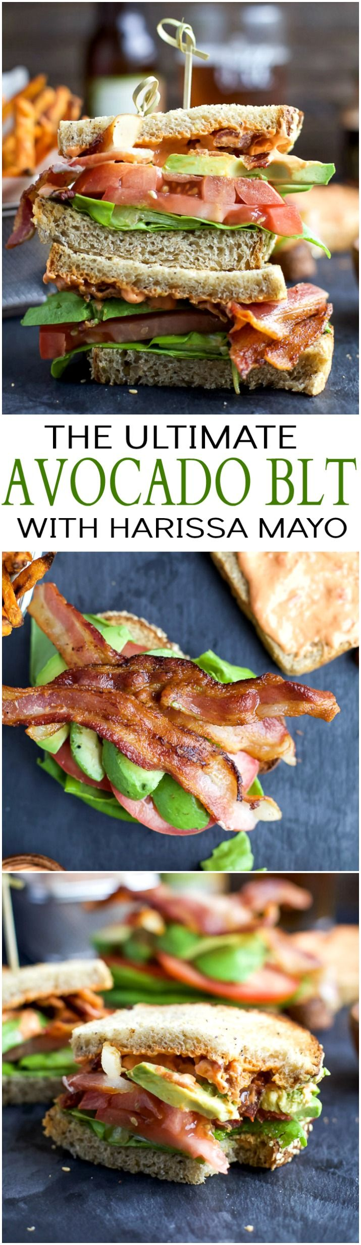 The Ultimate Avocado BLT slathered with a Harissa Mayo that takes this sandwich over the top... that and it's BACON and AVOCADO people! | joyfulhealthyeats...