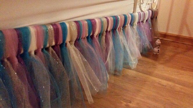 Tutu bed skirt for Frozen themed bedroom