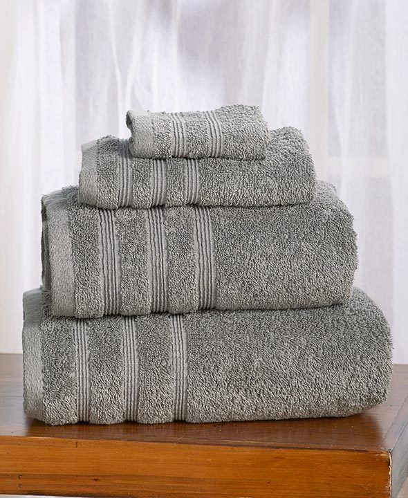 4 PC BATH TOWEL SET GRAY COTTON 1 BATH SHEET 1 BATH TOWEL 1 HAND TOWEL WASHCLOTH #ELEMENTS