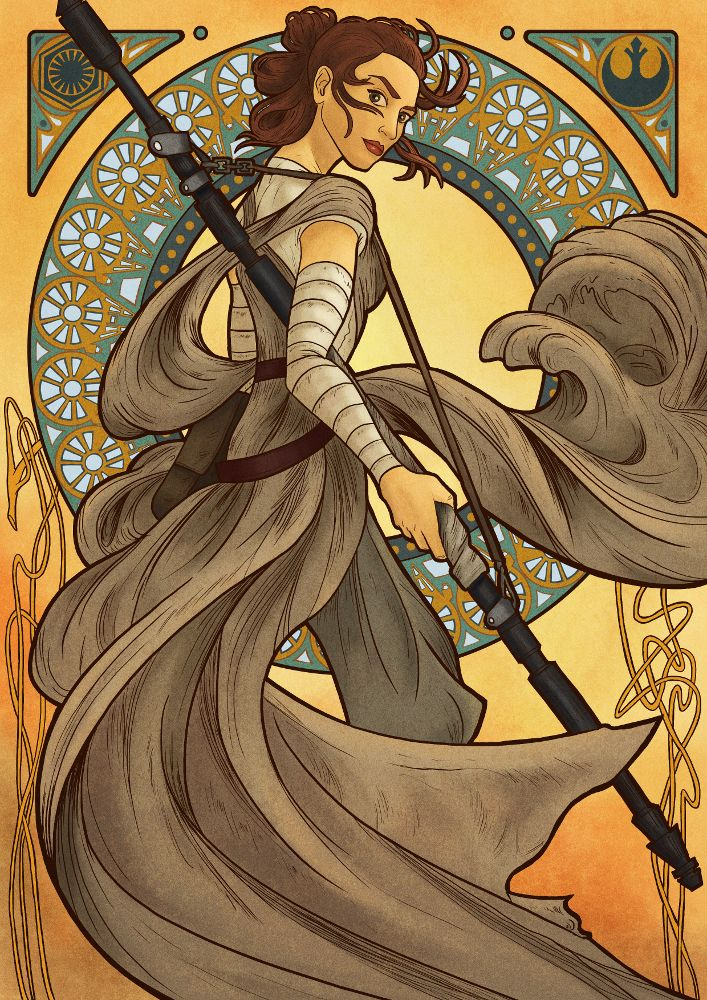 "mystarwars: "" Rey by Dominic On // Rey is in the Alphonse Mucha, Art Nouveau style, which I think the flowing lines of her outfit is particularly well suited for. """