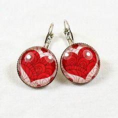 Boucles d'oreilles cabochon verre coeur rouge et blanc - graphique - love amour valentin