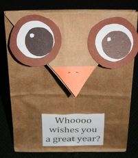 """FREE Easy back to school treat bag.  """"Whoooo wishes you a great year?"""" Brown lunch bag flips up to reveal the teacher's name.  """"Mrs. Smith, that's who!""""  or...""""Mrs. Smith """"owl"""" be your teacher and I'm so excited!"""""""