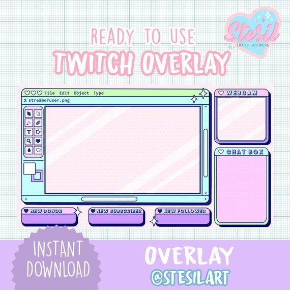 Twitch Overlay Aesthetic Kawaii Streamer Paint Vintage Pastel Streamer Graphics In 2021 Twitch Streaming Setup Twitch Overlays