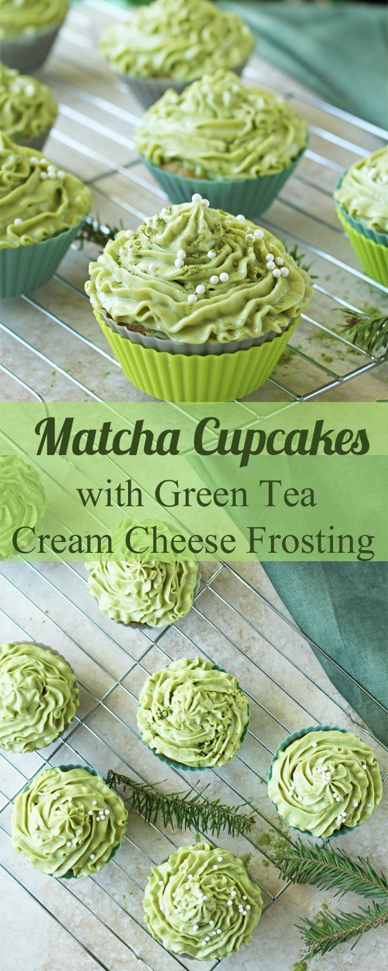 Matcha Cupcakes with Green Tea Cream Cheese Frosting   Food And Cake Recipes