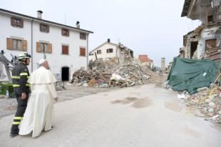 Pope Francis' surprise visit to quake zone...On our Saint's Name Day - 10/04/2016.  REUTERS/Osservatore