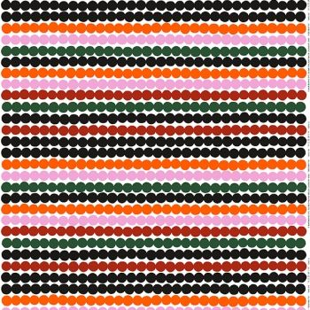 Marimekko's Räsymatto fabric, orange-green-black