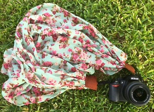 mint and pink floral scarf camera strap with leather ends | for Nikon, Canon, and other DSLR