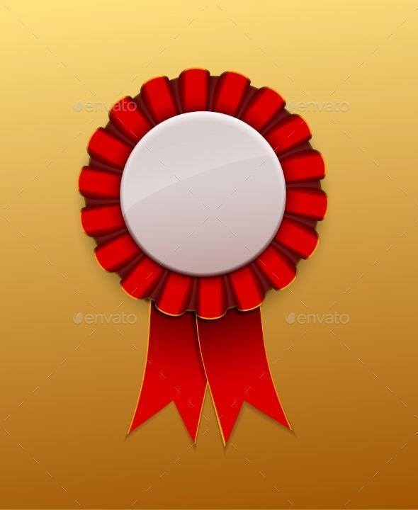 Red Ribbon Award badge on background, vector | board game design