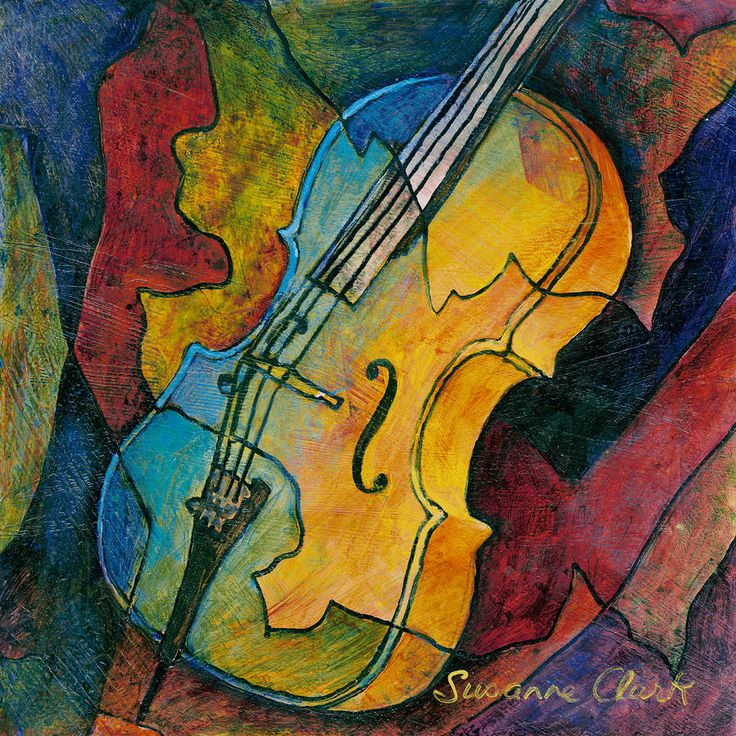 Cello Babe - Susanne Clark.  Gives me an idea to take simple line drawings of instruments and add colorful backgrounds inspired by sounds these instruments make - could borrow real instruments and play diff music to make a full lesson of it...