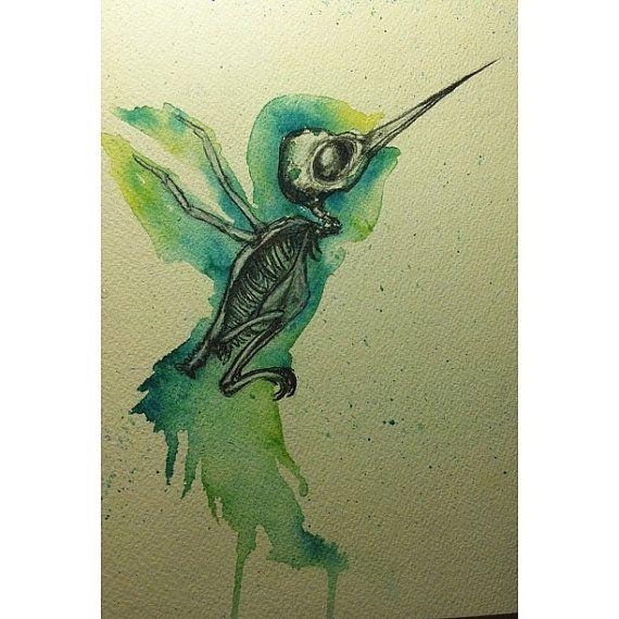 8x12 Hummingbird watercolor/pencil painting by ArtbySarahEngland, $60.00