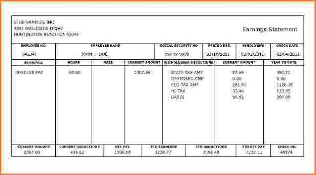 Free Check Stub Template Printable Payroll Template Payroll Checks Statement Template