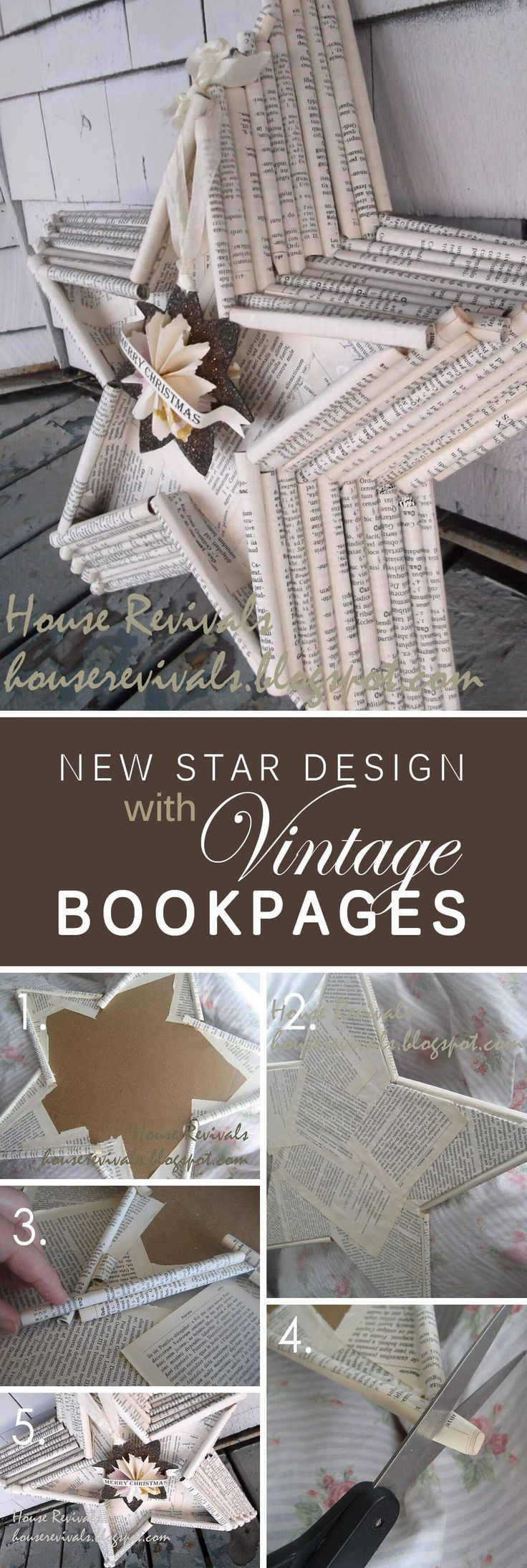 Vintage Book Page Star Wall Art