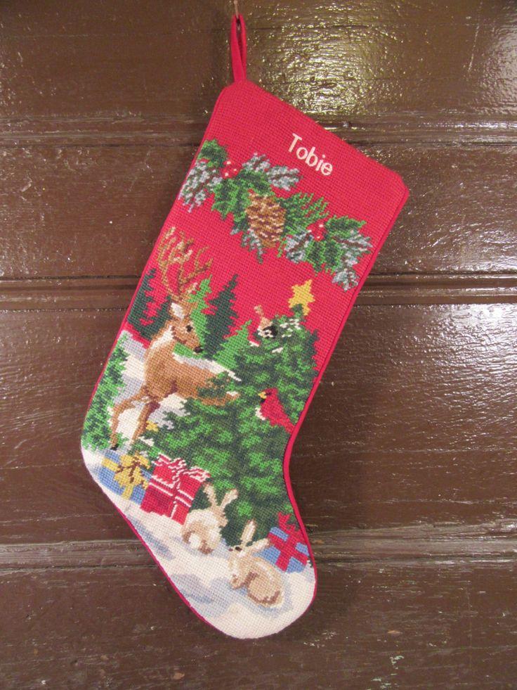 Very nice LL Bean needlepoint holiday Christmas stocking