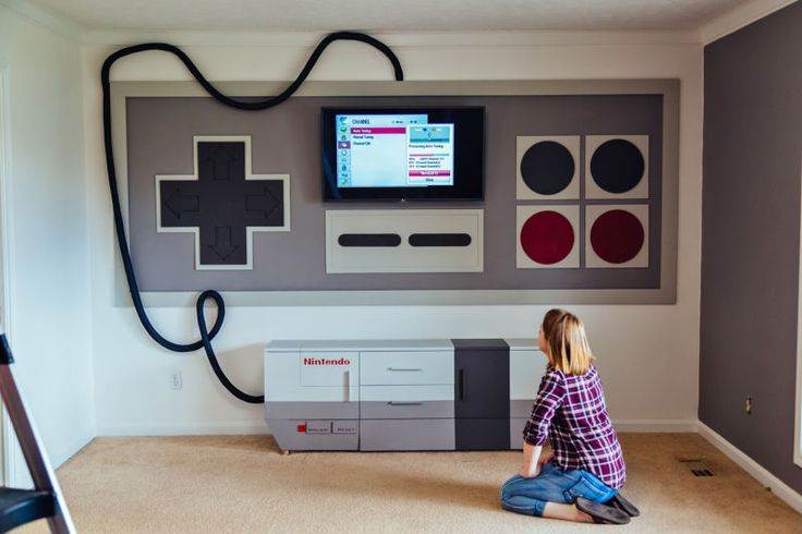 A giant custom home theater setup that pays homage to the original 8-bit Nintendo Entertainment System