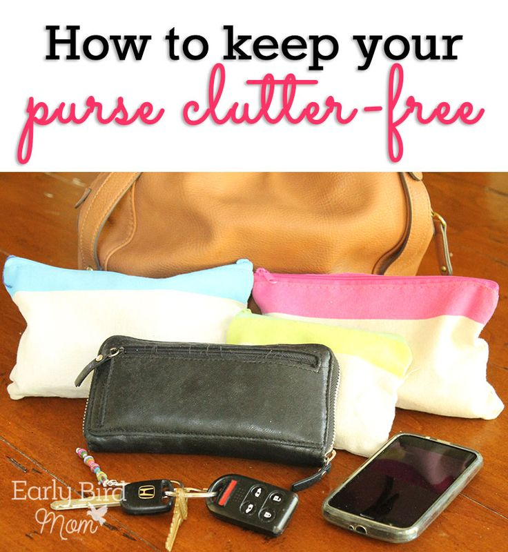4 easy ways to keep your purse organized and clutter free. Make your life easier with these simple steps so you can always find what you need. Especially organization idea #1 makes being out with your family a whole lot easier. With lot of helpful pics.