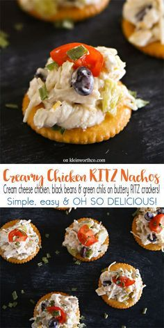 Creamy chicken loaded with black beans, diced green chilis & more on buttery RITZ crackers makes Creamy Chicken RITZ Nachos chicken recipe that is AMAZING! #FamilyRITZpiration #ad /ritzcrackers/