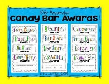 Choose from 56 End-of-Year Candy Bar Awards for your students! There's so many candy bar awards to choose from, so I've compiled them all into one easy to use document. Planning sheets are included to make it easier when you go to the store! http://www.teacherspayteachers.com/Store/Kim-Miller-24