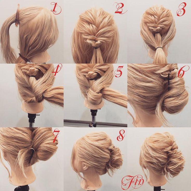 フォロワーさんリクエスト★ よこりんぱで作るギブソンタック縦ver(夜会巻き風) 1,トップと下を分けます 2,トップをざっくり二つ編み込みをします 3,トップの髪と下の髪を一緒に結びます 4,よこりんぱをします 5,もう一回よこりんぱをします 6,上をピン留めをします 7,下をピン留めをします 8,留めると写真のようになります Fin,崩したら完成です 夜会巻き風のギブソンタックの縦verです★ 参考になれば嬉しいです^ ^ #ヘア#hair#ヘアスタイル#hairstyle#サロンモデル#サロモ#撮影#編み込み#三つ編み#フィッシュボーン#ロープ編み#まとめ髪 #アレンジ#結婚式#ブライダル#ヘアアレンジ#アレンジ動画#アレンジ解説#香川県#高松市#丸亀市#宇多津#美容室#美容院#美容師#よこりんぱ#ギブソンタック#夜会巻き風