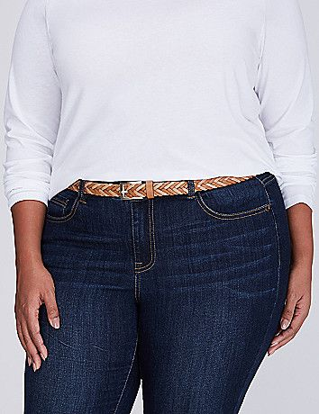 A braided belt adds a little texture to any look. Square, single-prong buckle. lanebryant.com