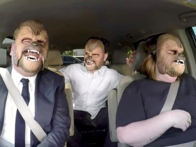 Chewbacca Mask Mom carpools with J.J. Abrams!
