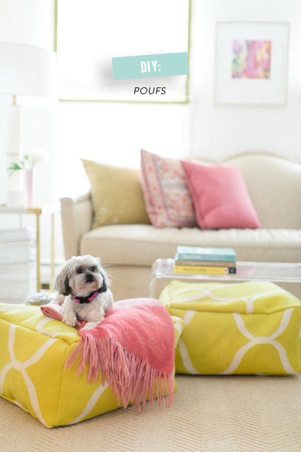 DIY Floor Poufs - Style Me Pretty : using an ikea rug and foam bead filler!: