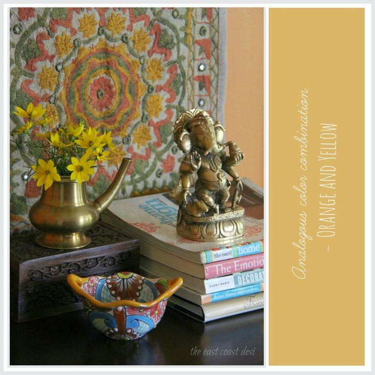 Orange and Yellow Color palette, brass Ganesha, Indian festive decor ideas