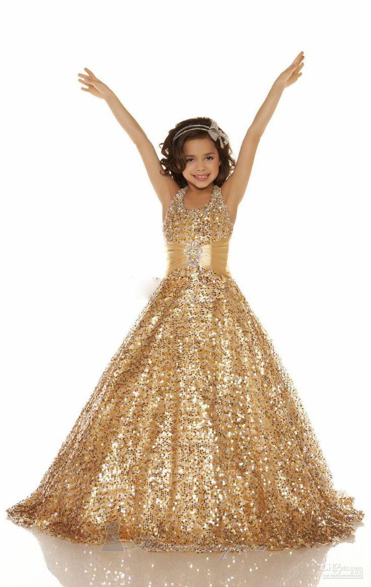 Потрясающие красивые девушки платья с золотыми блестками дети вечернее платье холтер бальное платье платье на заказ