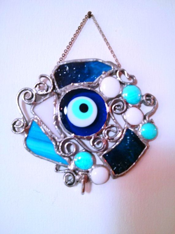 Key Holder for Wall Stained Glass Lucky evil Eye by Malkamania