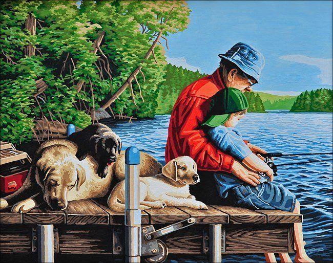 Рыбалка с дедушкой. Размер картины 40х50см. Кисти, холст, краски, схема, крепления уже в наборе.