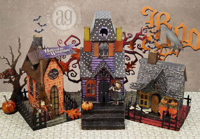 """Whimsical Haunted Village using Graphic 45 """"Hallowe'en in Wonderland"""" and lots of Tim Holtz/Sizzix Dwelling dies."""