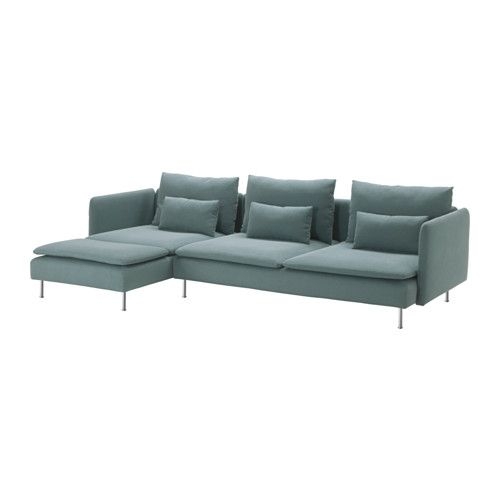 IKEA - SÖDERHAMN, Sofa and chaise, Finnsta turquoise, , Durable microfiber which is soft and smooth.SÖDERHAMN seating series allows you to sit deeply, low and softly with the loose back cushions for extra support.The cover is easy to keep clean as it is removable and can be machine washed.The various sections of the seating series can be connected together in different combinations or used separately.You can sit in comfort with a slight, pleasant resilience thanks to the elastic weave in…